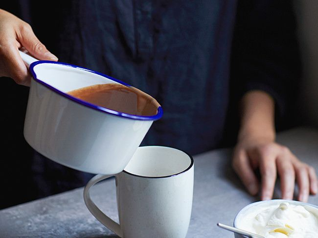 Crown your Mother's Day Breakfast with a mug of indulgent hot chocolate will lashings of fresh cream.