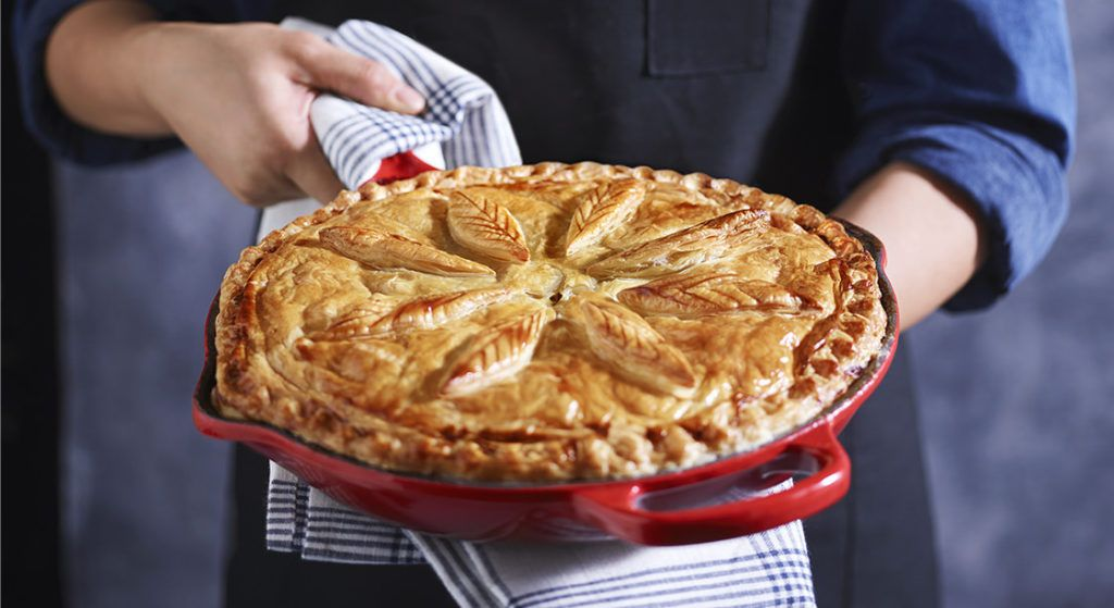 Enjoy this chicken and leek pie made in a glorious cast iron skillet.