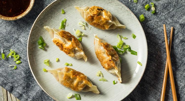 Korean Pork Dumplings with Kimchi