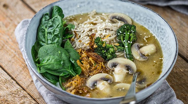 Mushroom, miso and soba noodles