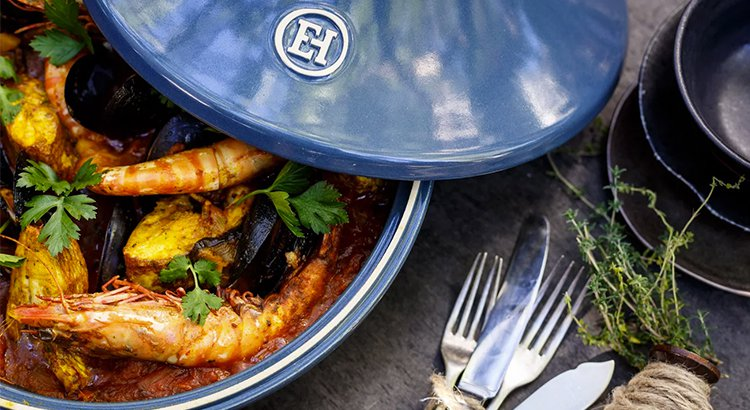 Seafood and eggplant tagine