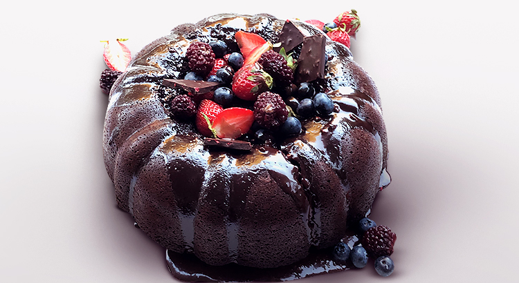 Chocolate Ganache Bundt Cake Recipe with Berries