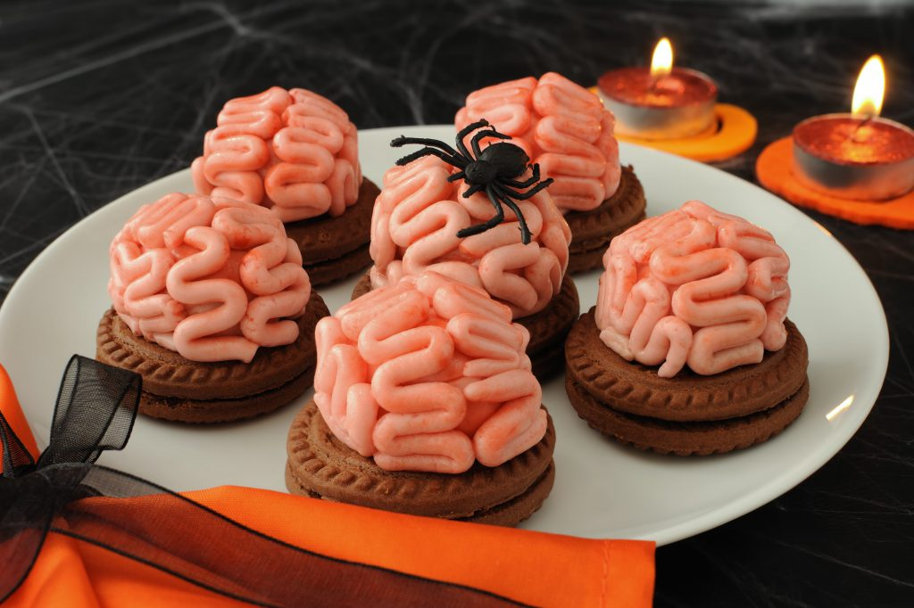 Halloween party food brain frosting