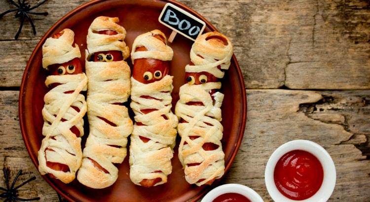 Halloween party food sausage mummies