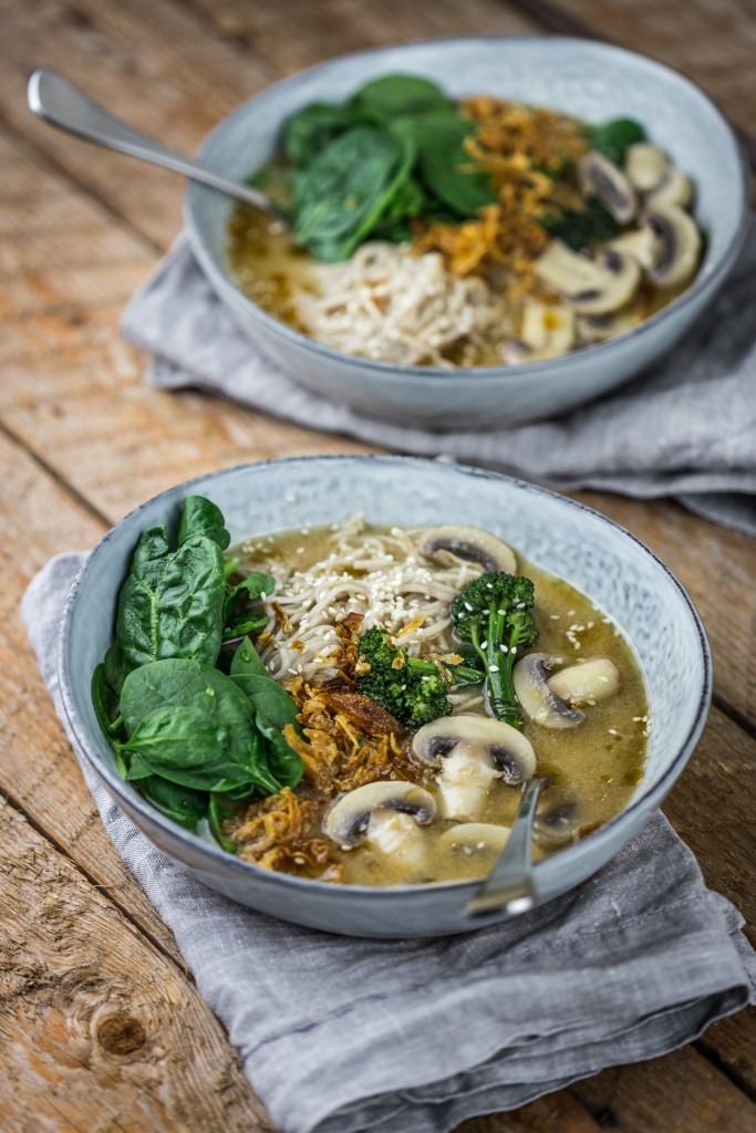 Mushroom, miso and soba noodles