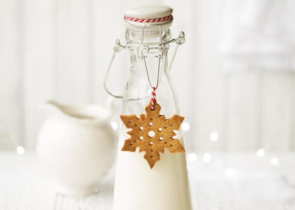 Snowflake cookie and milk