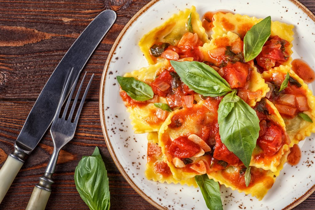 Goat's Cheese Ravioli with Tomato Sauce